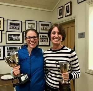 Lydia Brookes and Lisa Johnson with their trophies